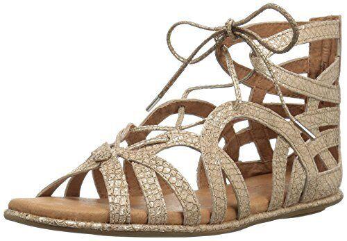 3df8bb9e6a34 Gentle Souls Womens Break My Heart Metallic Snake Embossed Lace up Sandals  Gold 11