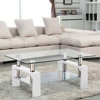 Rectangular Glass Coffee Table Living Room Furniture Shelf Chrome White Wood