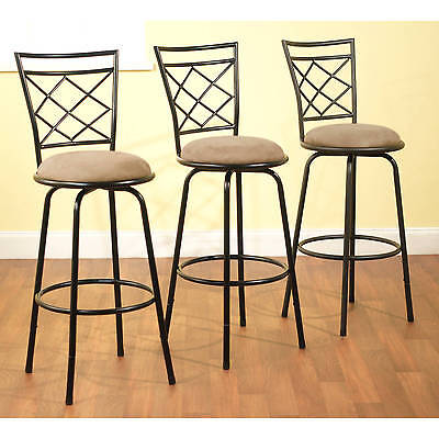 3 Bar Stools High Seat Chairs Adjustable Swivel Counter