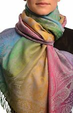 Large Ombre Paisley and Diamond On Grey Pashmina With Tassels (SF002674)