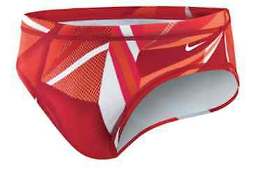 NIKE Mens Brief TESS0023 Jagged Geo RED Swim Team Wear Suit Gym 30-38 $48 NWT