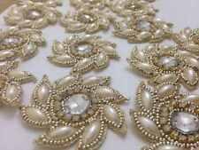 Pearl APPLIQUE avorio oro, Motif, bordi, tagliare, Paillettes, perline (5.5cm circa)