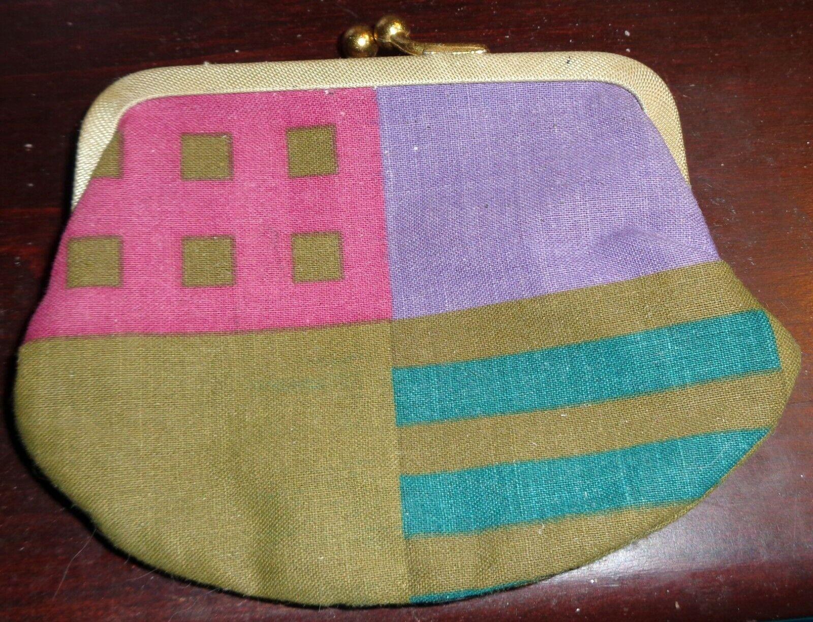 Multicolor Cloth & Metal Coin Purse Maybe Handmade Magenta Lavender Olive Aqua