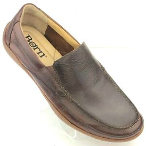 b009b7d04e601 Details about BORN Mens Brown Leather Slip On Driving Moc Loafers Shoes 8
