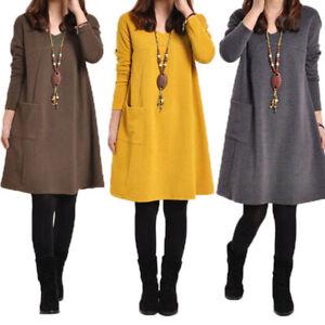 Mode-Femme-Pull-Hiver-et-Automne-Chaud-Elegant-Manches-longues-Dress-Robe-Plus