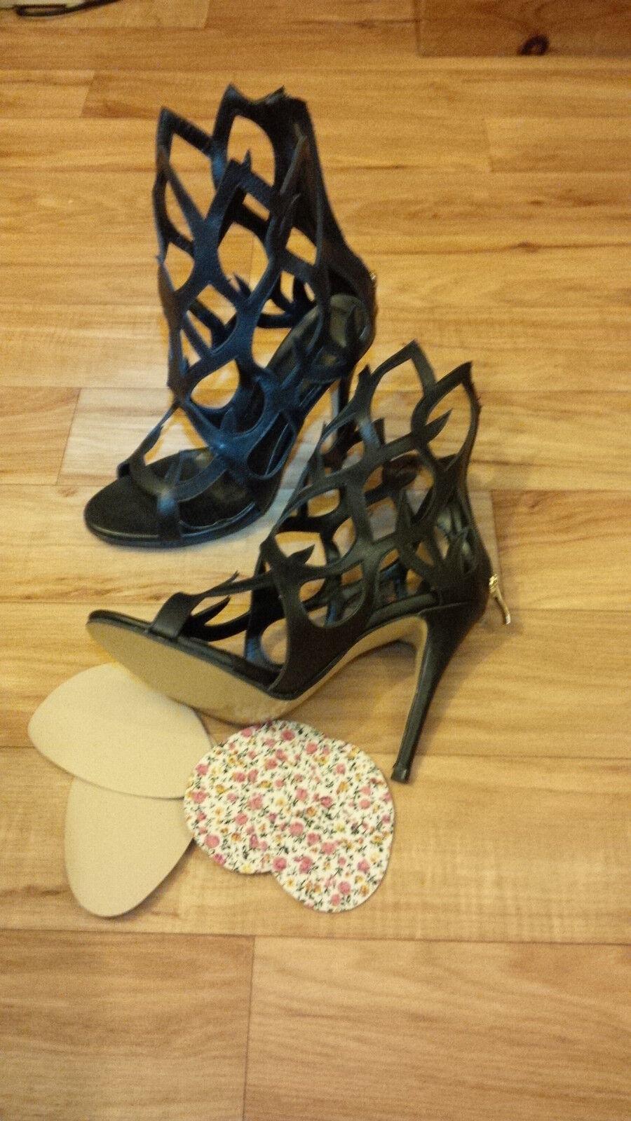 Black Black Black Choppy Cutout Ankle Boot Stilleto shoes 4.75 inch heels -  UK 5 BNIB c23544
