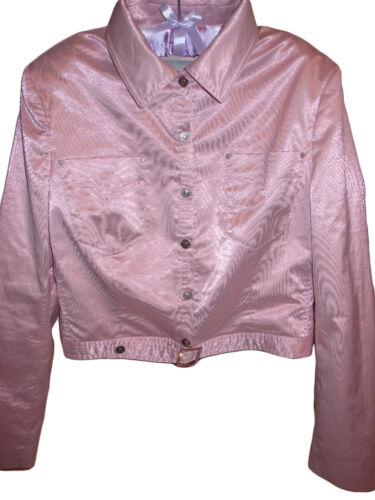 Uk14 Womens Jacket Sexy Casual V90 Designer Pink Versace Fashion Crop Sz L Shiny wZqBxwPd8