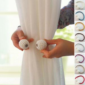 1-Pearl-Magnetic-Ball-Holders-Lace-up-Clip-Hanger-Buckle-Tie-Back-Curtain-Straps