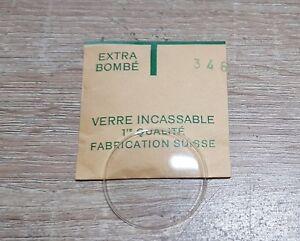 Verre-de-montre-suisse-bombe-plexi-diametre-346-Watch-crystal-vintage-NOS