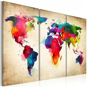 Fashion environmental professional canvas triple world map hanging image is loading fashion environmental professional canvas triple world map hanging gumiabroncs Image collections