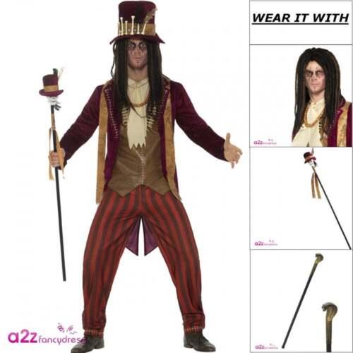 Deluxe Voodoo Witch Doctor Adult Mens Halloween Fancy Dress Costume Hat Wig Cane