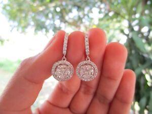 5.10 Carat Face Illusion Diamond White Gold Dangling Earrings 14k sepvergara