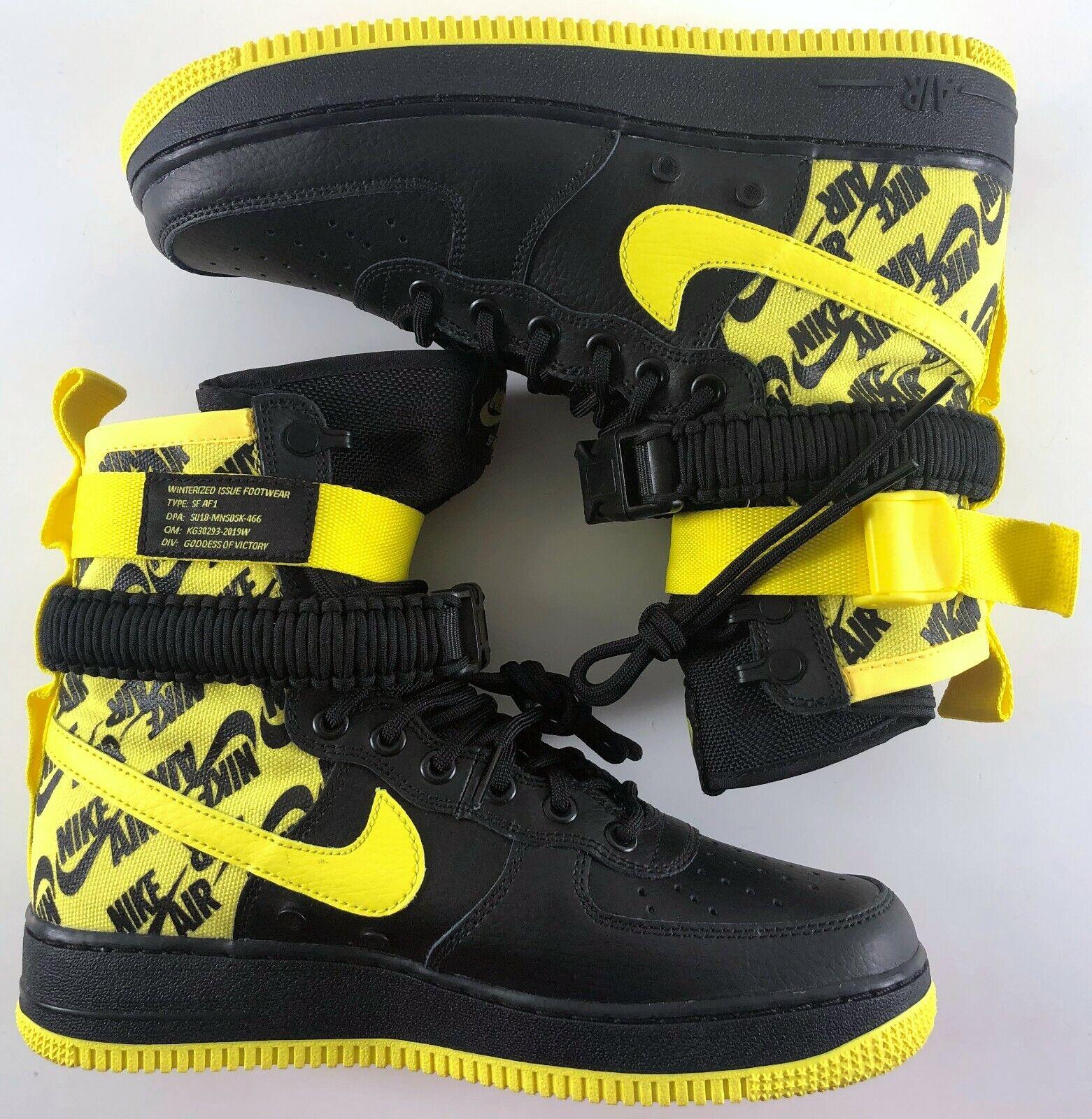 Nike Air Force 1 SF-AF1 High Men Boot Black   Dynamic Yellow AR1955-001 New