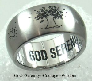 Details about Serenity Tree of Life Ring Stainless Steel 9 MM God Courage  Wisdom Inspirational