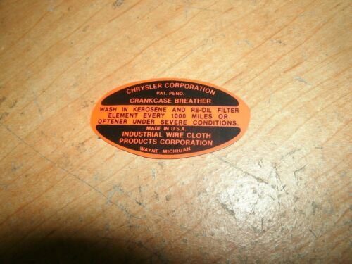 1946 1947 1948 CHRYSLER WINDSOR NEW YORKER TOWN /& COUNTRY V8 OIL FILL CAP DECAL