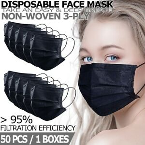 50-PCS-Black-Disposable-Face-Mask-Non-Medical-3-Ply-Earloop-Dust-Cover-Masks