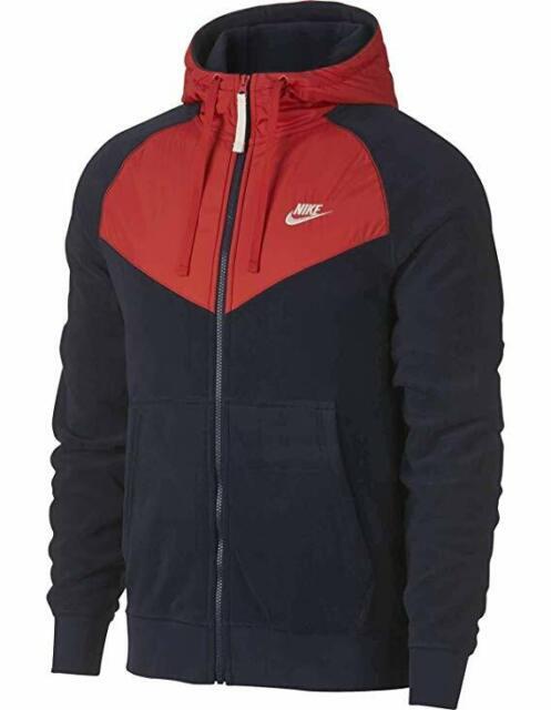 Medium Mens Nike NSW Full Zip Polar Fleece Navy Habanero Hoodie 929114 451