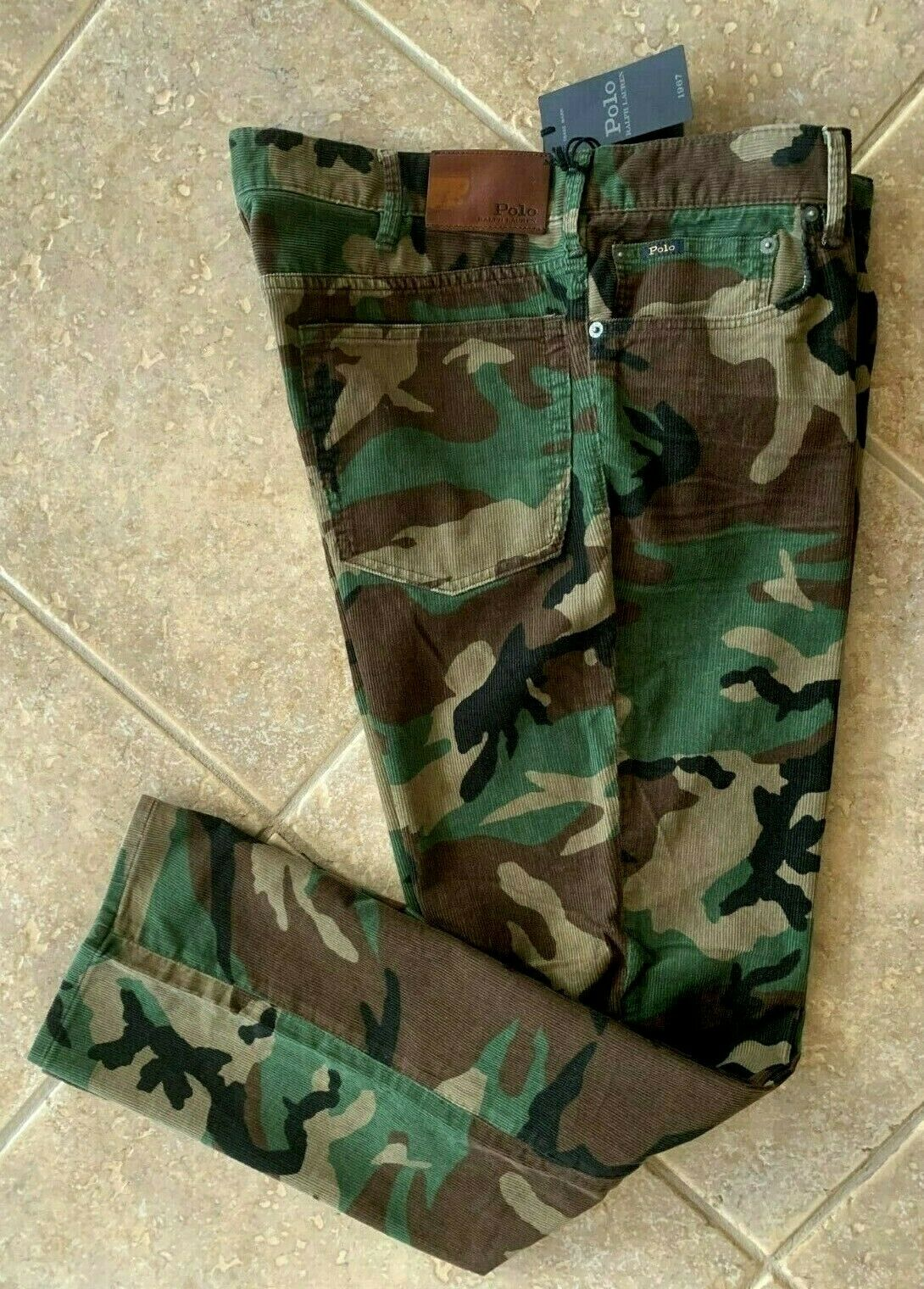Polo Ralph Lauren Prospect Straight Pants Mens 38 x 32 Camo Corduroy NWT