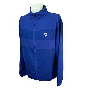 FootJoy Men's Full Zip Mock Neck ECC Logo Ribbed Blue NWT Golf Jacket Large
