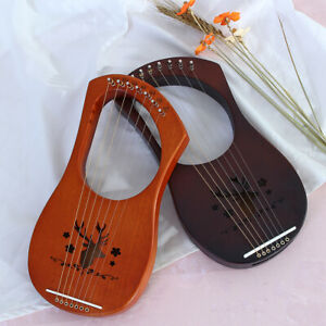 7-Strings-Lyre-Harp-Mahogany-Wood-Backboard-Hand-Engraved-Reindeer-Tuning-Key