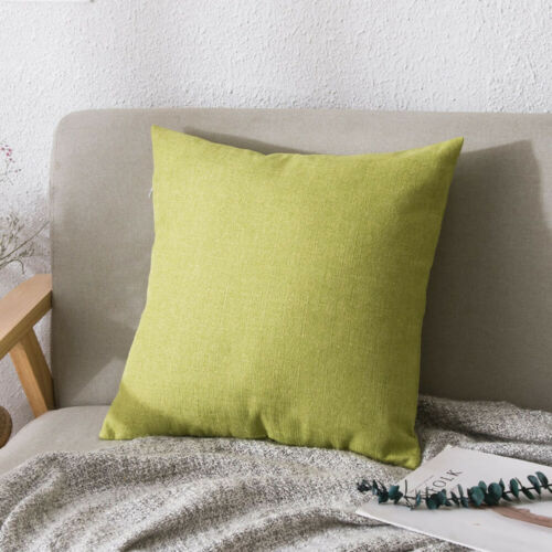 WR/_ Solid Color Linen Throw Pillow Case Cushion Cover Home Sofa Bed Car Decorati