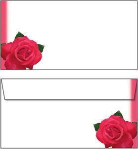 Das Bild Wird Geladen 10 Briefumschlaege Motiv Rote Rosen DIN Lang Einladung