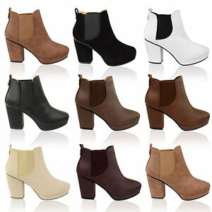 WOMENS-LADIES-MID-HIGH-HEEL-BLOCK-PLATFORM-ANKLE-LOW-CHELSEA-BOOTS-SHOES-SIZE