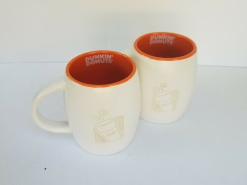 2012 ORANGE /& WHITE 2 Dunkin/' Donuts Coffee Mugs Engraved Laser Cut 14 oz