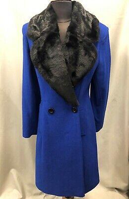 Ladies Long Wool Blue Black Coat With Faux Fur Collar 8 10 12 14 16 18 20 22