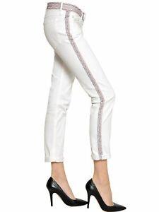 ISABEL MARANT ÉTOILE white embroidered  slim crop  cotton mix Jeans - size 26