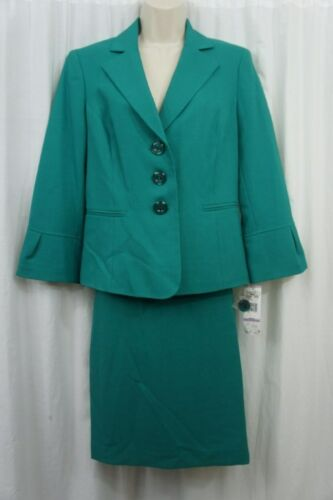Le Suit Skirt Suit Sz 14 New Jade Green Business Career Dinner 2 PC Skirt Suit