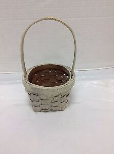 Home Decorating Rustic Primitive Country Accent Wicker Basket Distressed White