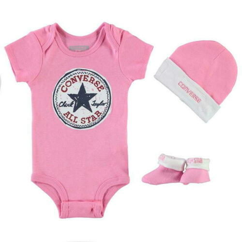*New* Converse Baby Girl Bodysuit Beanie Booties 0-6 Months Romper Hat Sock Set