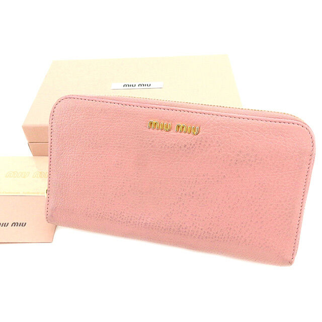 miumiu Wallet Purse Long Wallet Logo Pink Woman Authentic Used T2345