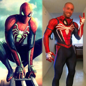 US-Adult-Kid-PS4-Spider-Man-Cosplay-Costume-Halloween-Suit-with-Movable-Mask