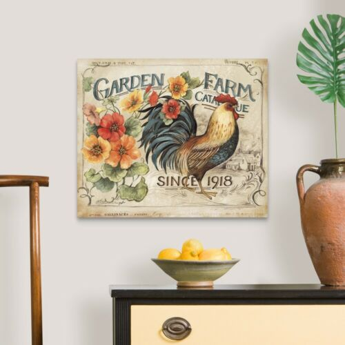Rooster Home Decor Garden Farm Rooster Canvas Wall Art Print