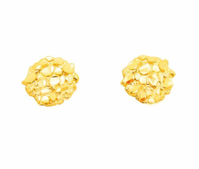Men S Women 10k Yellow Gold Small Nugget Earrings