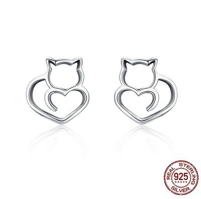 Cat Earrings Silver cat studs 925 Silver Sterling cat Studs Dainty Stud Earrings Cute Studs, Silver Studs 925 Silver Studs