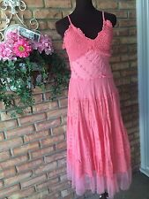 Dress Barn Summer Spaghetti Strap Eyelet Lace Tiered - Salmon Pink Peach- Large