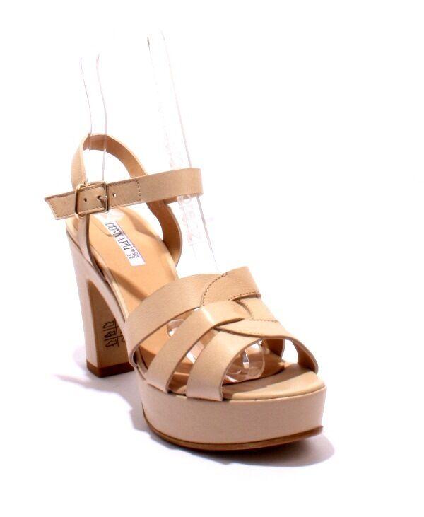 women Piu 52496 Beige Leather Platform Heel Ankle Strap Sandals 37   US 7