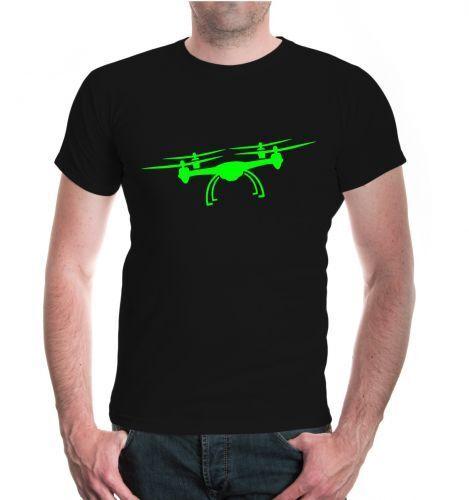 Herren Unisex Kurzarm T-Shirt Flugdrohne-Silhouette Drohne Flugobjekt Flugsport