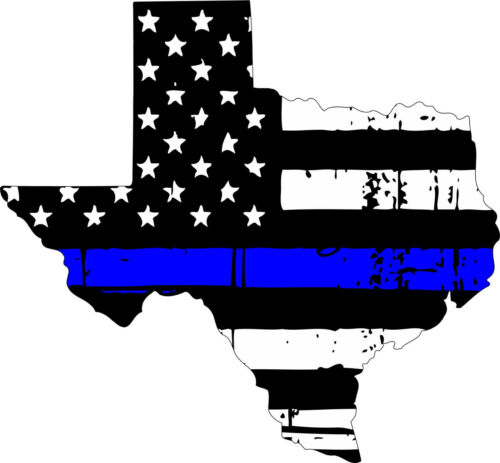 Various Sizes Thin Blue line decal State of Texas Tattered Flag