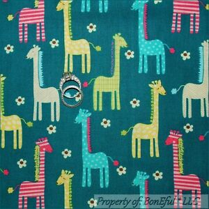 BonEful Fabric FQ Cotton Quilt White Pink Blue Yellow Horse Pony Baby Dot Stripe