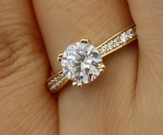 e9861575e1b93 Cut Round gold Real 14K Ct 1.5 Side Yellow Ring Engagement Basket ...