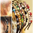 Women Chic Metal Rhinestone Crystal Head Piece Chain Jewelry Headband Hair Band