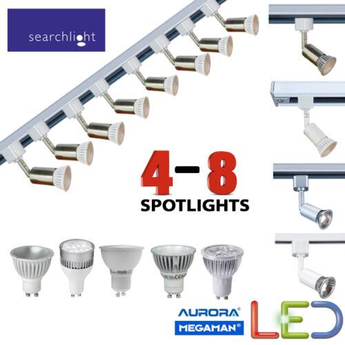 SEARCHLIGHT LED GU10 LIGHTING TRACK SPOTLIGHTS 4 5 6 7 8 LIGHT 2 OR 3 METRE BNIB