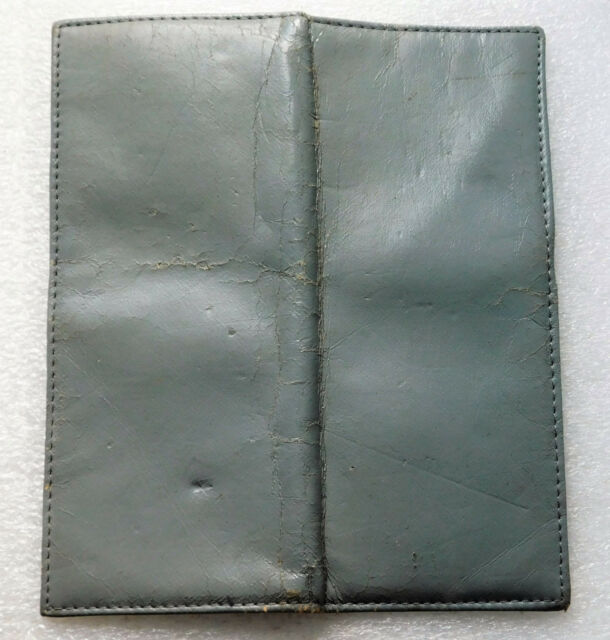 Vintage cheque book holder wallet grey faux leather 1960s 1970s 1980s old tatty