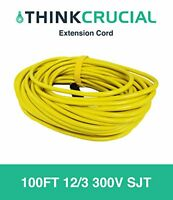 100ft Extension Cord 12/3 300v Sjt; Heavy Duty, Durable And Flexible For Indoor/