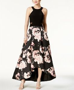 d6a901137ea NEW  220 XSCAPE WOMENS BLACK FLORAL HALTER HIGH-LOW PLEATED GOWN ...