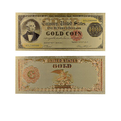 1908 Year 100 Dollar Colorful Gold Banknote Collectible 24k Gold Plated Bill